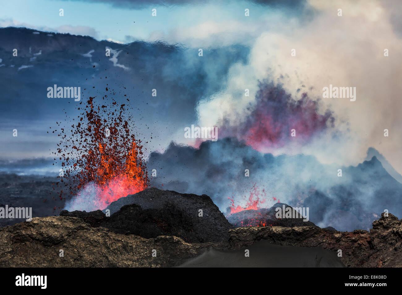 Volcano Eruption at the Holuhraun Fissure near Bardarbunga Volcano, Iceland. Stock Photo