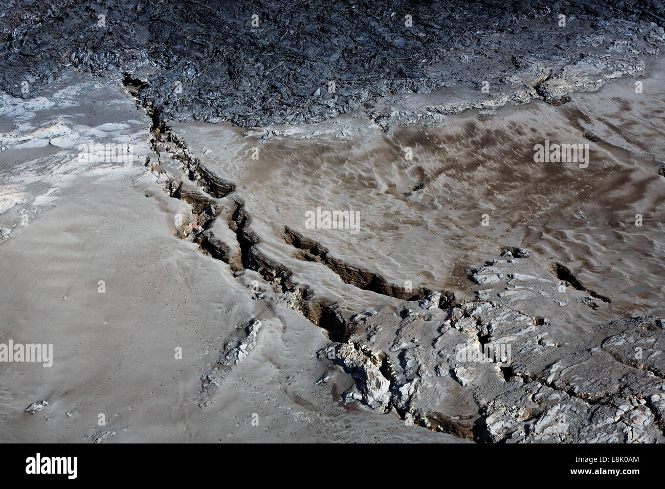Huge cracks and lava from the eruption at Holuhraun near the Bardarbunga Volcano, Iceland. - Stock Image