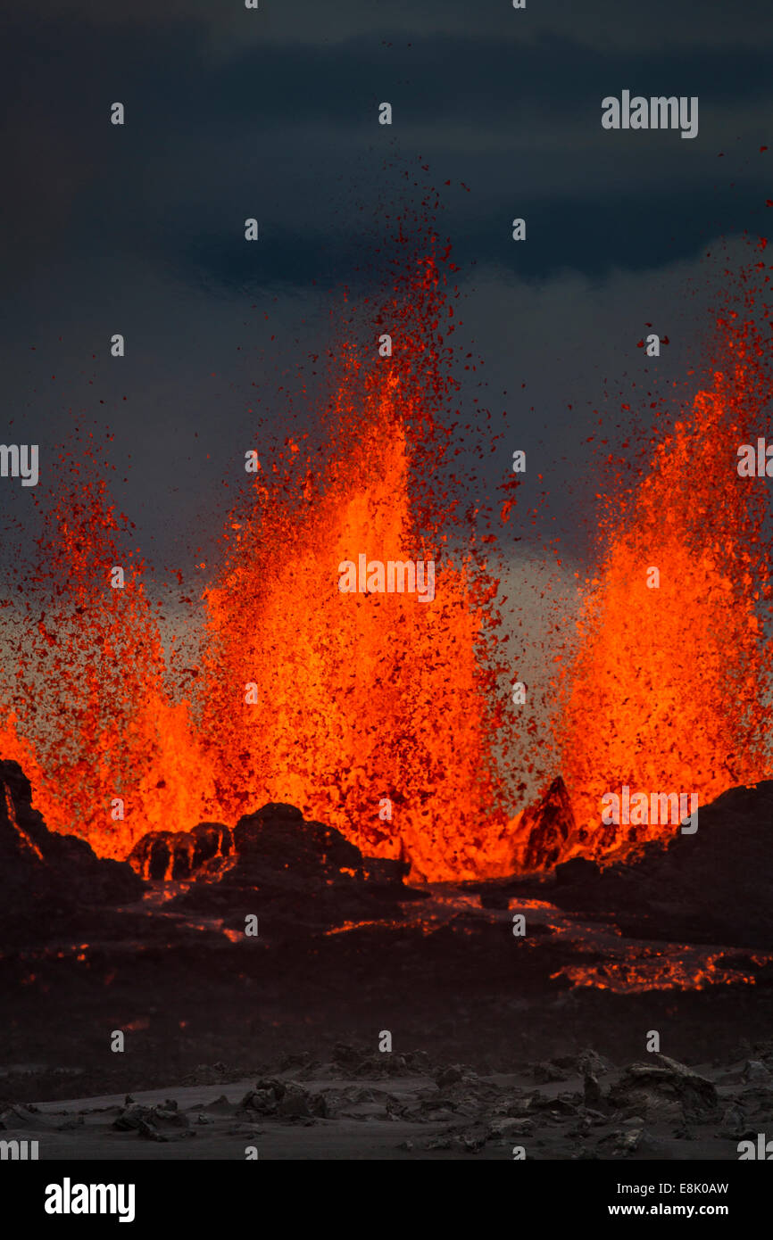 Lava fountains at the Holuhraun Fissure eruption near Bardarbunga Volcano, Iceland. August 29, 2014 a fissure eruption - Stock Image