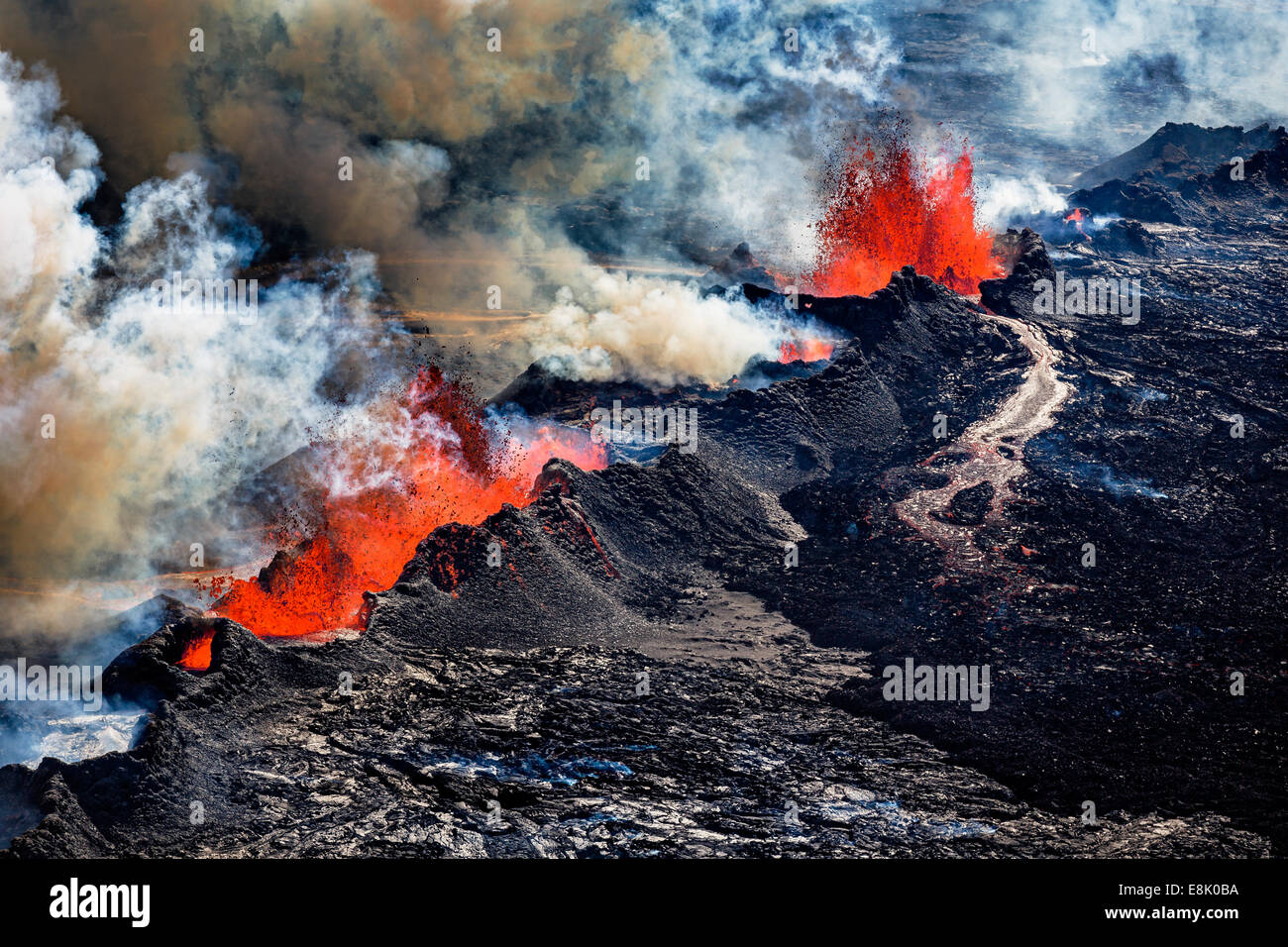 Volcano Eruption at the Holuhraun Fissure near Bardarbunga Volcano, Iceland. - Stock Image