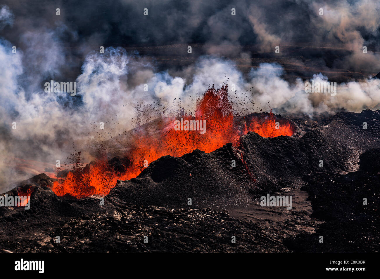 Volcano Eruption at the Holuhraun Fissure near Bardarbunga Volcano, Iceland. Stock Photo