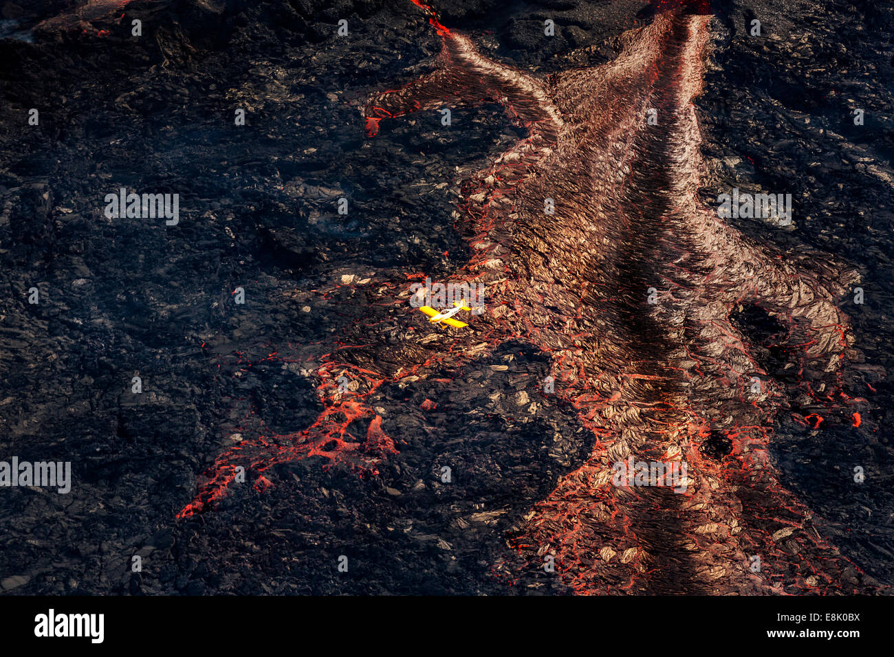 Plane flying over the Volcano Eruption site at the Holuhraun Fissure, by the Bardarbunga Volcano, Iceland. - Stock Image