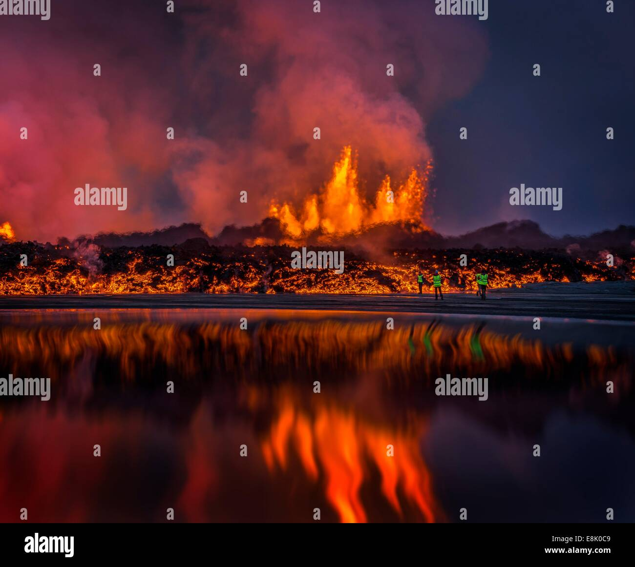 Glowing lava from the eruption at the Holuhraun Fissure, near the the Bardarbunga Volcano, Iceland. - Stock Image