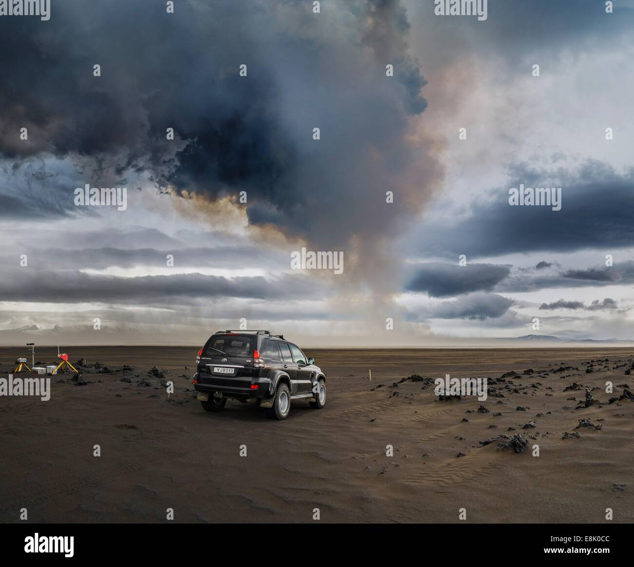 Volcanic Plumes with toxic gases, Holuhraun Fissure Eruption, Iceland. Stock Photo