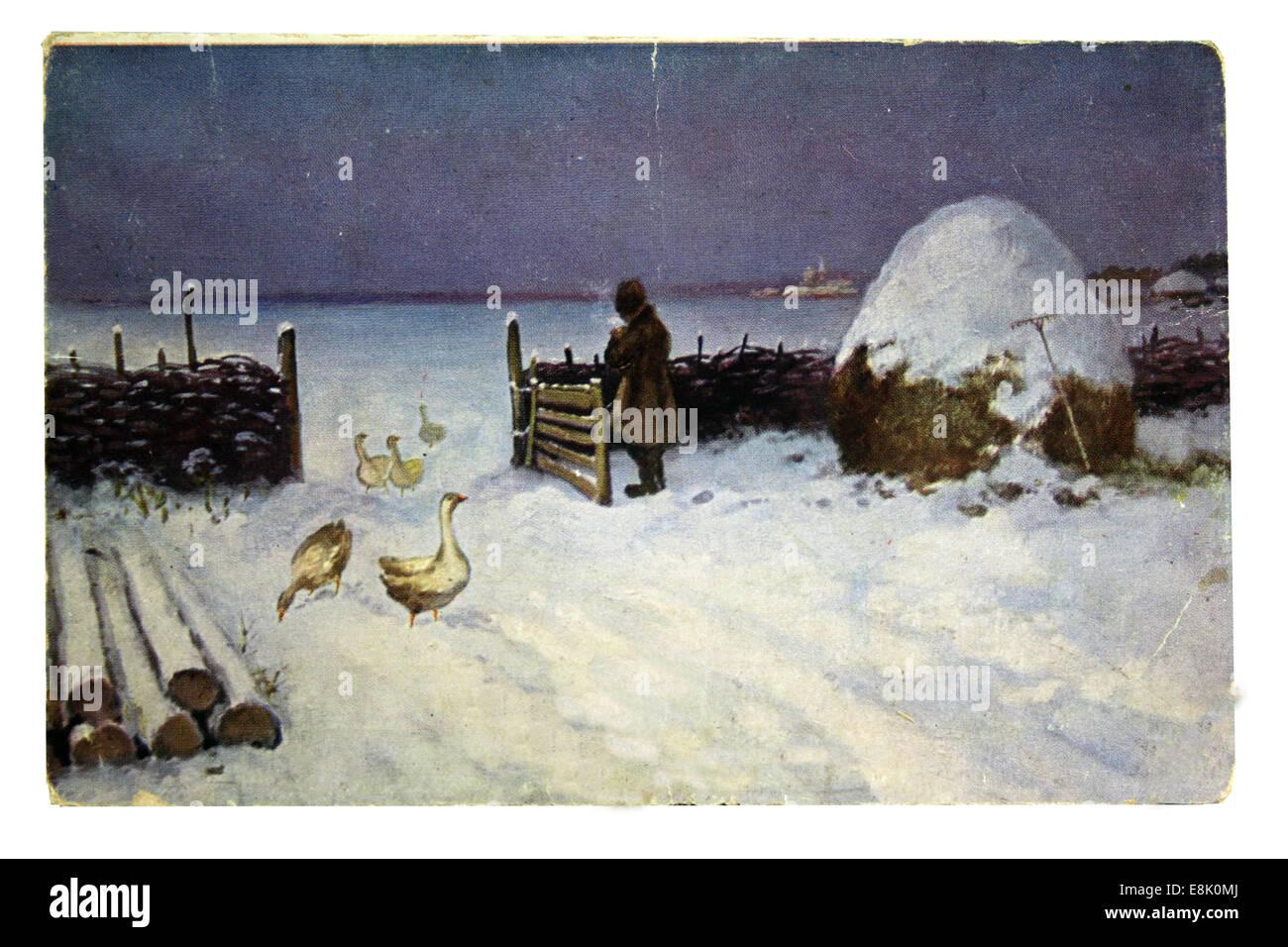 Postcard printed in Russia shows M. Garmashev. 1st Dec, 2009. Snow fell, circa 1909 © Igor Golovniov/ZUMA Wire/ZUMAPRESS.com/Alamy - Stock Image