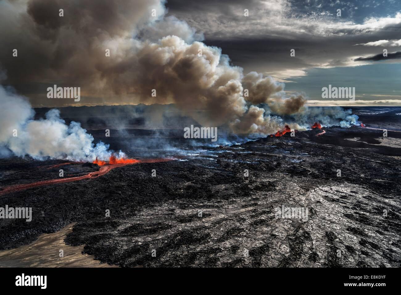 Volcano Eruption at the Holuhraun Fissure near the Bardarbunga Volcano, Iceland. Stock Photo