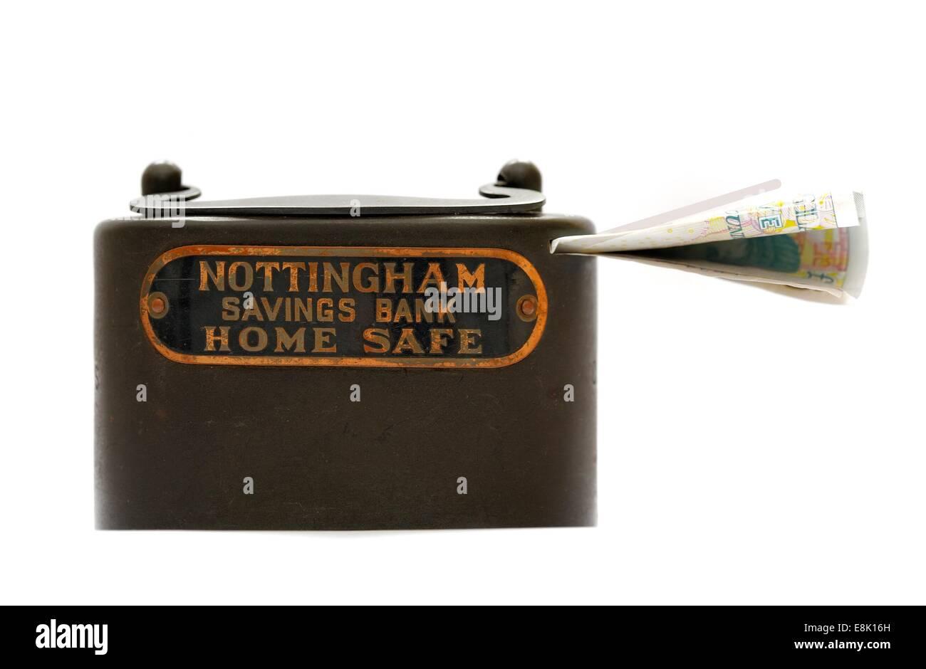 Old Nottingham savings bank home safe money box England uk - Stock Image