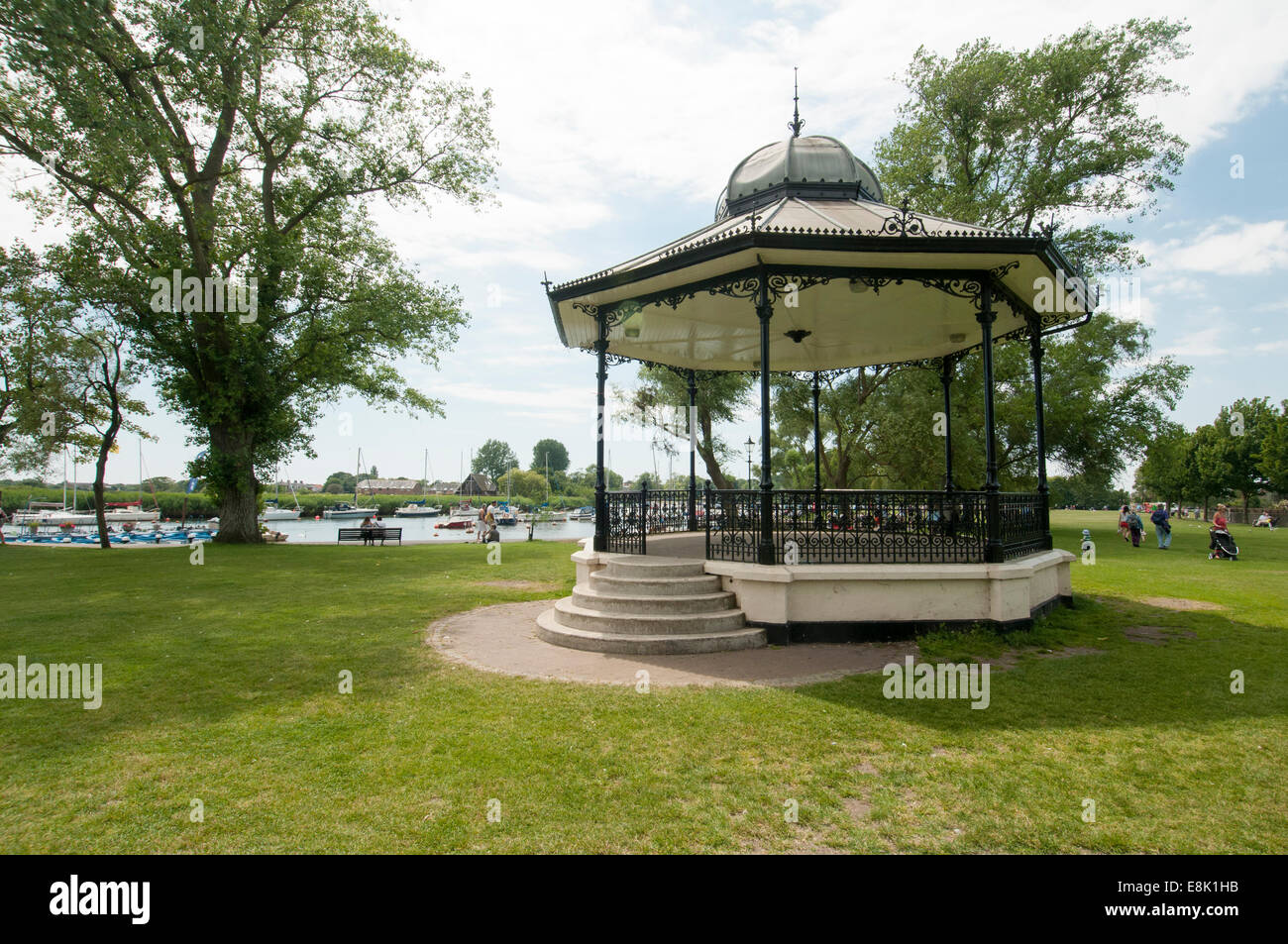 The Bandstand, The Quomps, Christchurch Quay, Christchurch, Dorset, England, - Stock Image