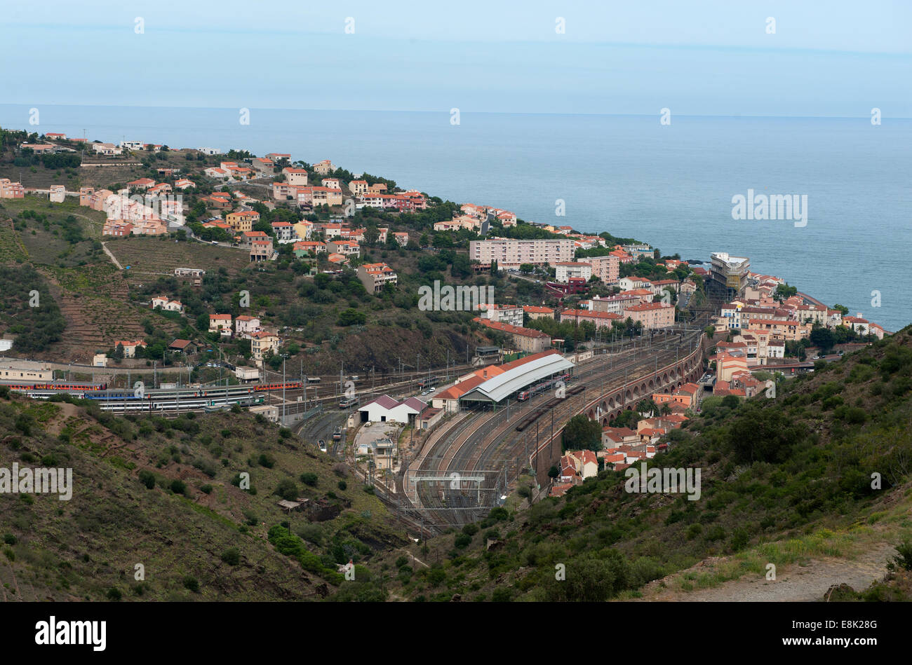 France. Cebere, the french railhead town on the Mediterranean coast before entering Spain at Portbou.. Sept 2014 - Stock Image