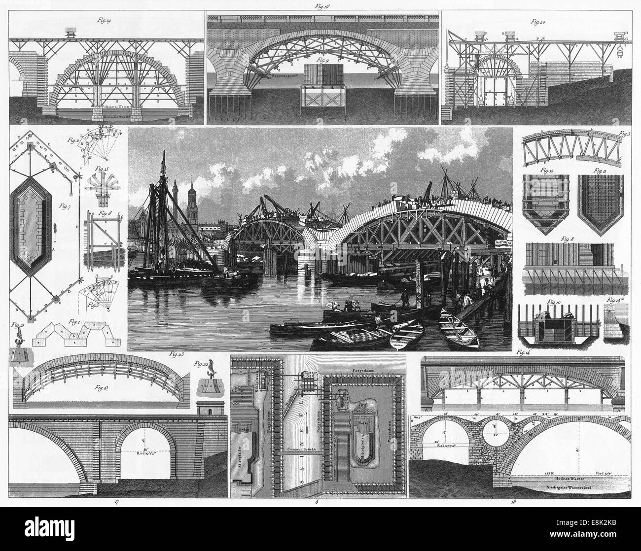 Engraved illustrations of Stone Bridge Construction from Iconographic Encyclopedia of Science, Literature and Art, Stock Photo