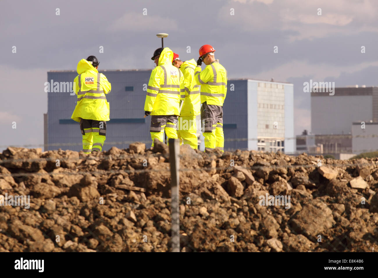 """Hinkley Point Somerset, UK. 9th October, 2014. Construction work on the new EDF Energy Hinkley Point """"C"""" nuclear - Stock Image"""