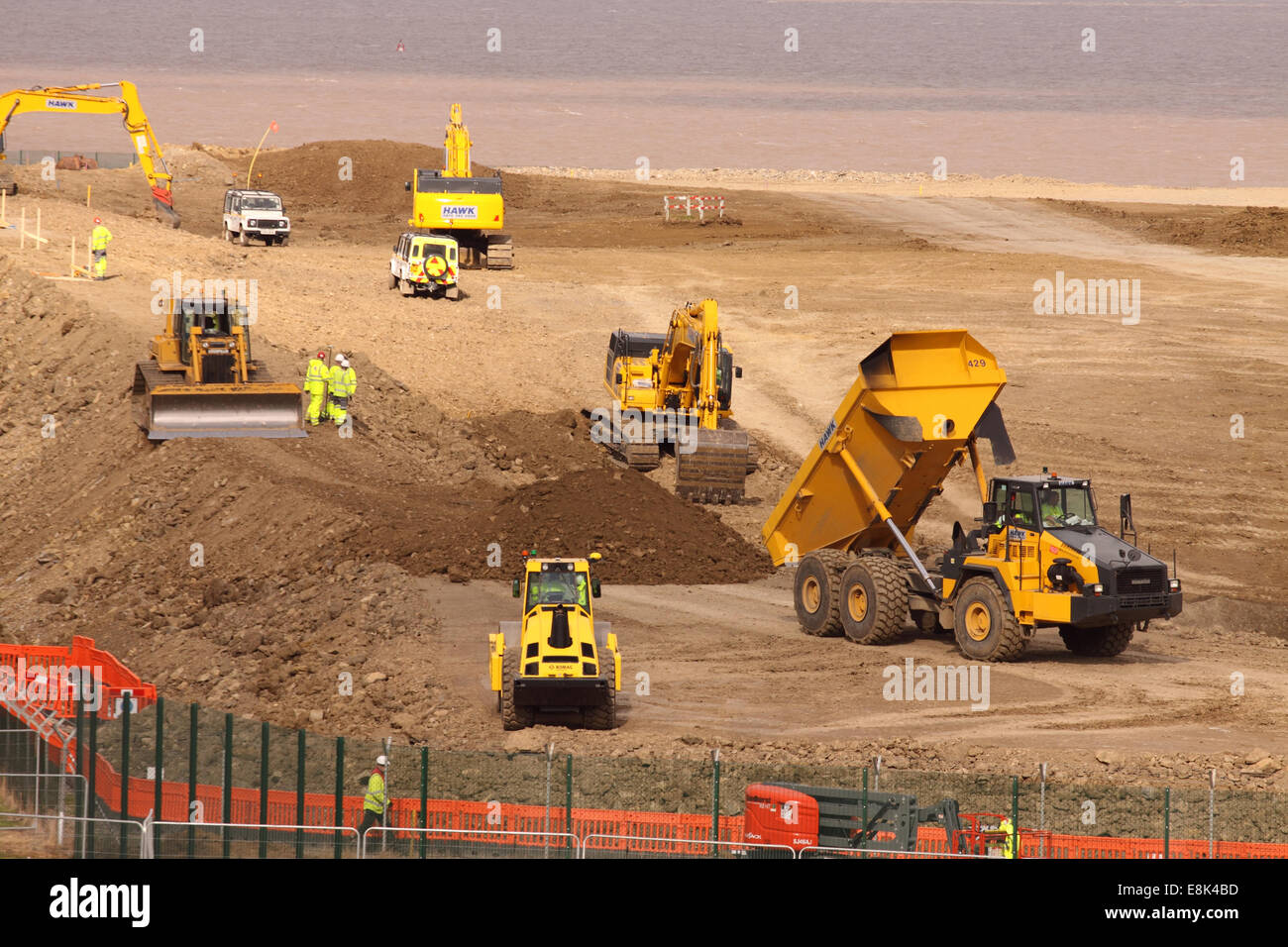 """Hinkley Point C Somerset, UK. 9th October, 2014. Construction work on the new Hinkley Point """"C"""" nuclear power station - Stock Image"""