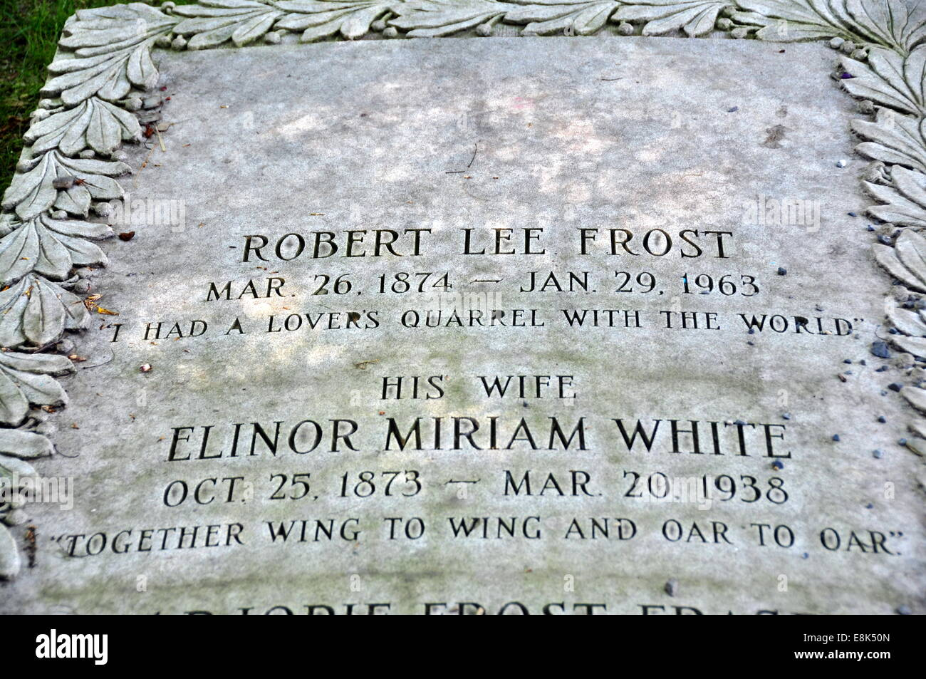 Bennington, Vermont:  Gravesite of revered American poet Robert Lee Frost at the First Congegational Church burial - Stock Image