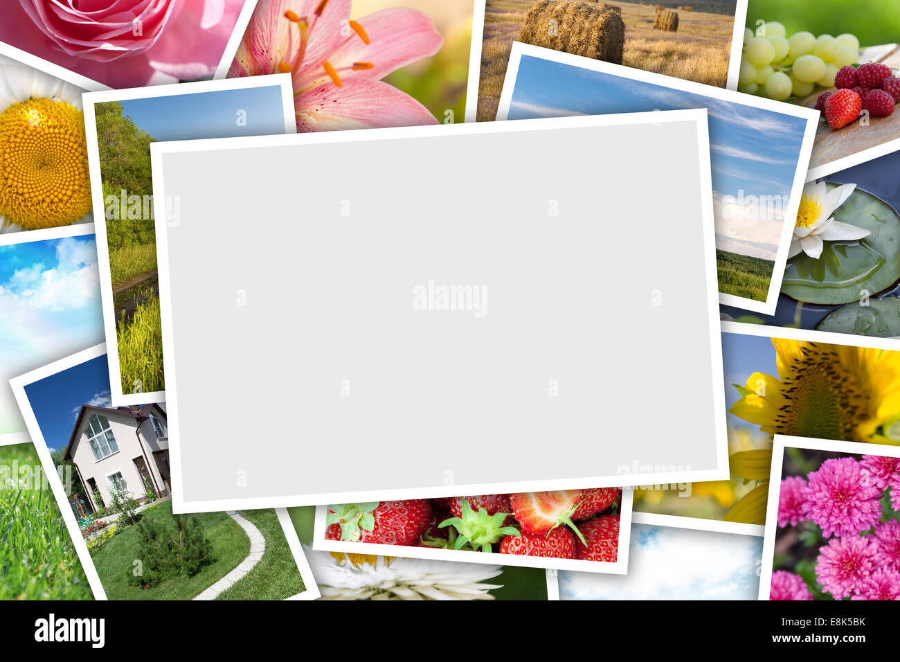 Stack Of Printed Pictures Collage Flowers Stock Photos Stack Of