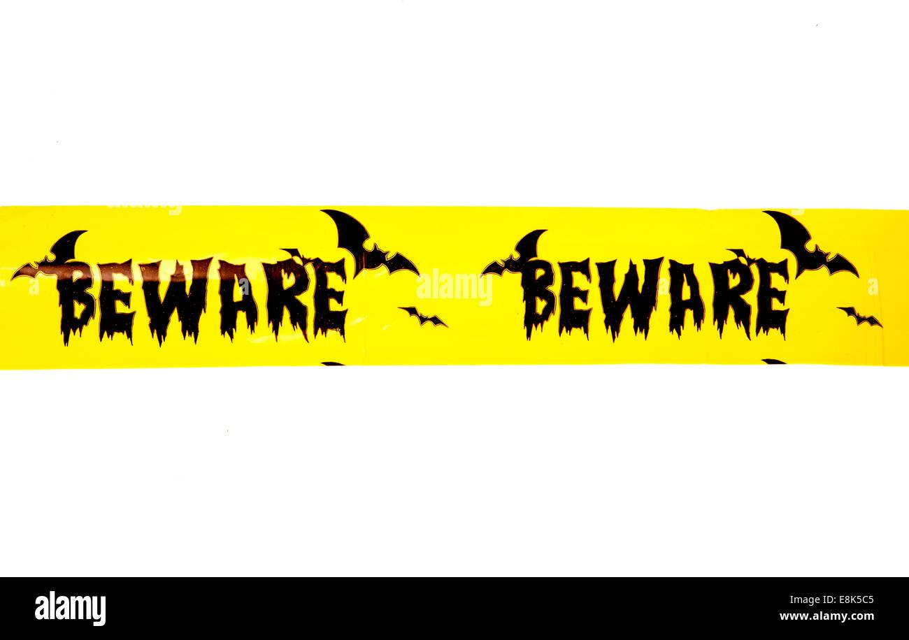 Halloween beware banner studio cutout - Stock Image