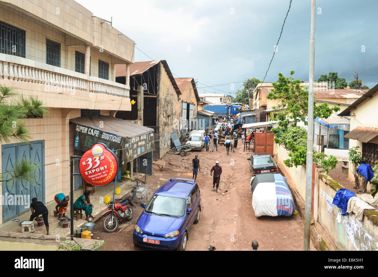 Streets of Labé, the largest city in the Fouta region of Guinea Stock Photo