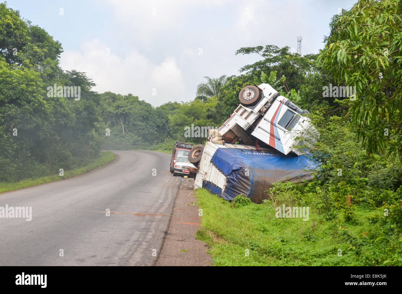 Accident on the roads of Guinea, Africa - Stock Image