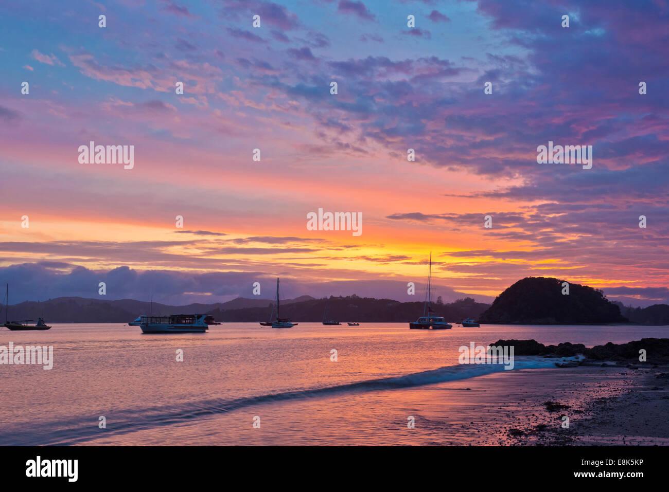 New Zealand, North Island, Paihia, Bay of Islands Sunrise (Large format sizes available) Stock Photo