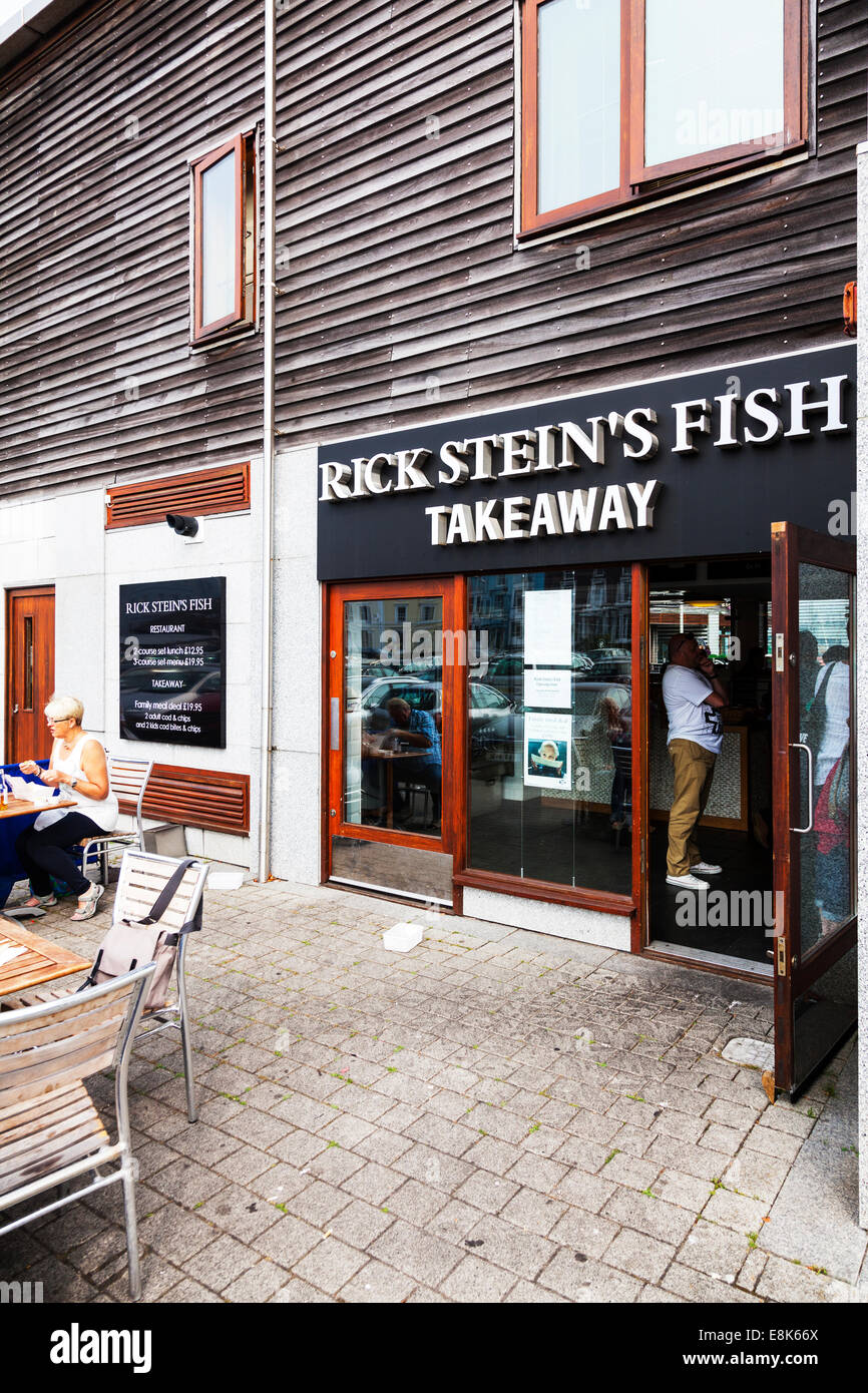 Rick Stein's Stein fish and chips Falmouth takeaway Cornwall UK England building entrance shop customers queuing - Stock Image