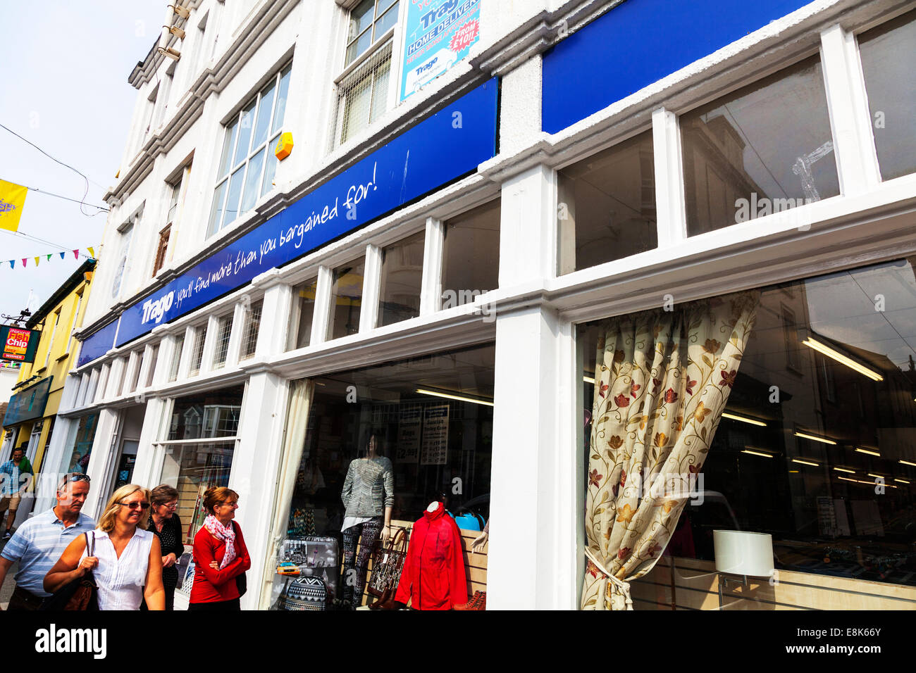 Trago Mills store shop front building Falmouth Cornwall UK Cornish department stores exterior front outside window - Stock Image