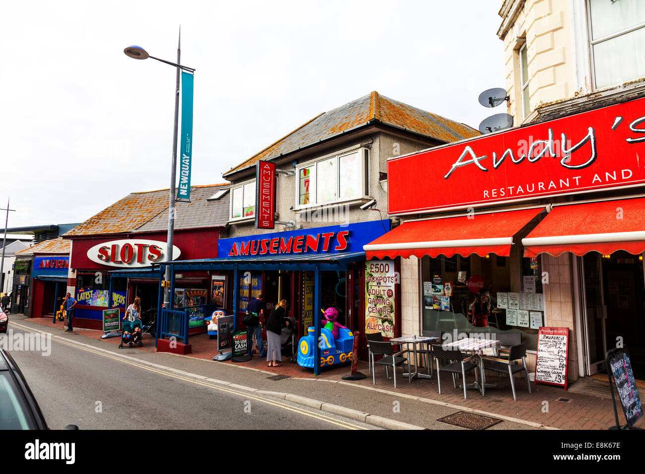 Newquay amusement amusements arcade arcades slot machines tourist fun UK England Cornish Cornwall - Stock Image
