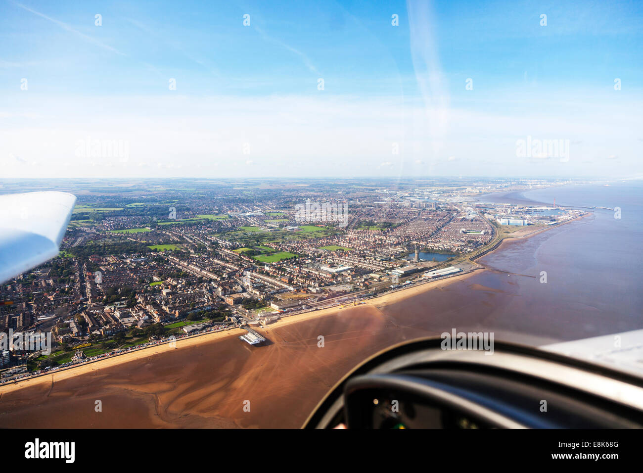 Cleethorpes pier & Grimsby aerial view town houses homes coast coastal coastline Humber estuary river from above - Stock Image