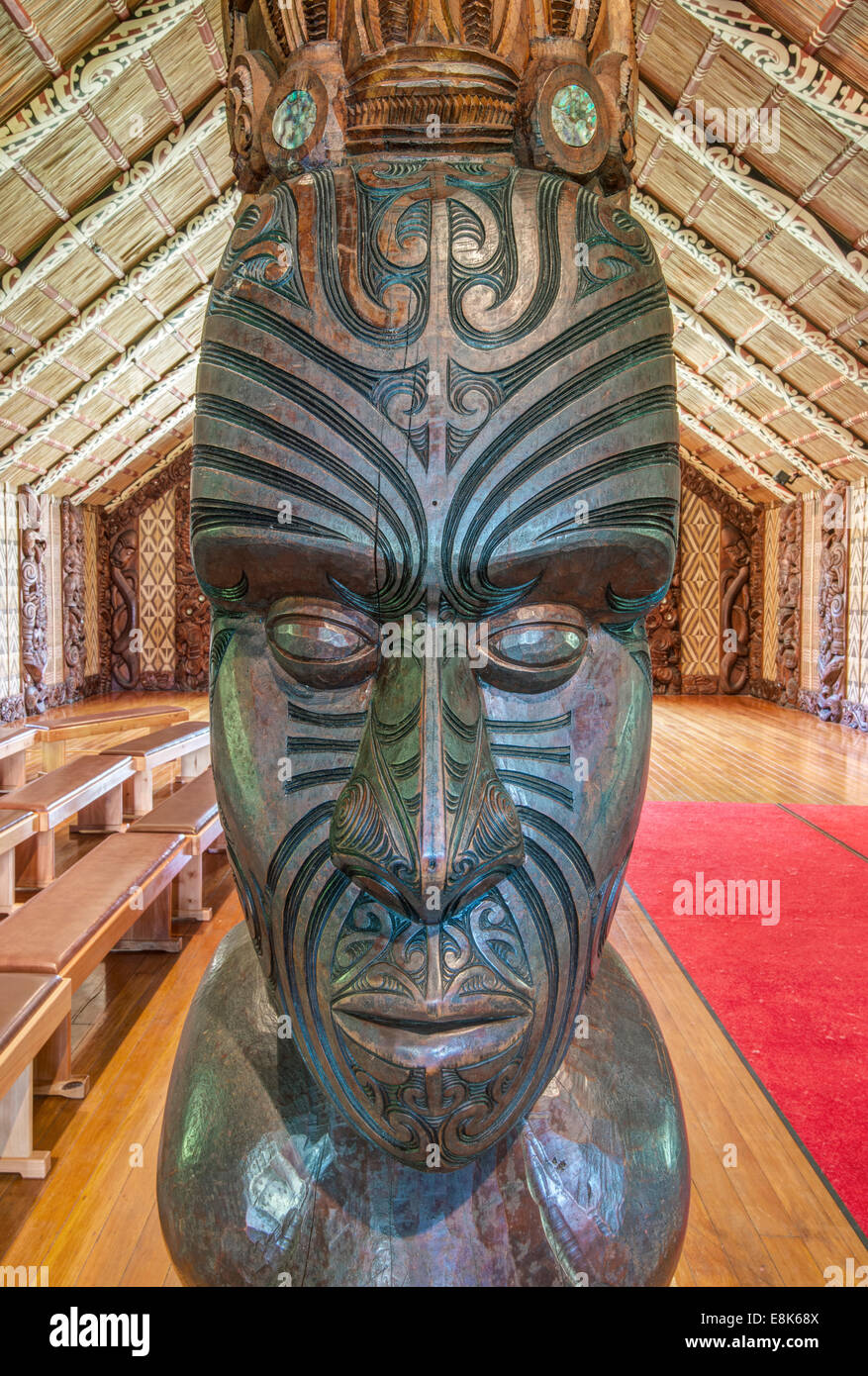 New Zealand, North Island, Paihia, Waitangi Treaty Grounds, Maori Meeting House (Large format sizes available) Stock Photo