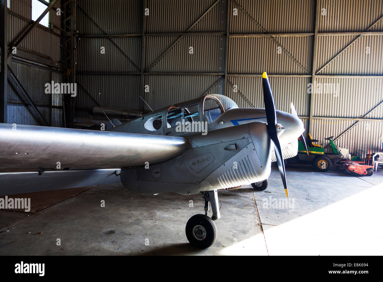 twin engined 1946 Miles Gemini plane airplane aircraft light lightweight on ground in hanger prop propeller - Stock Image