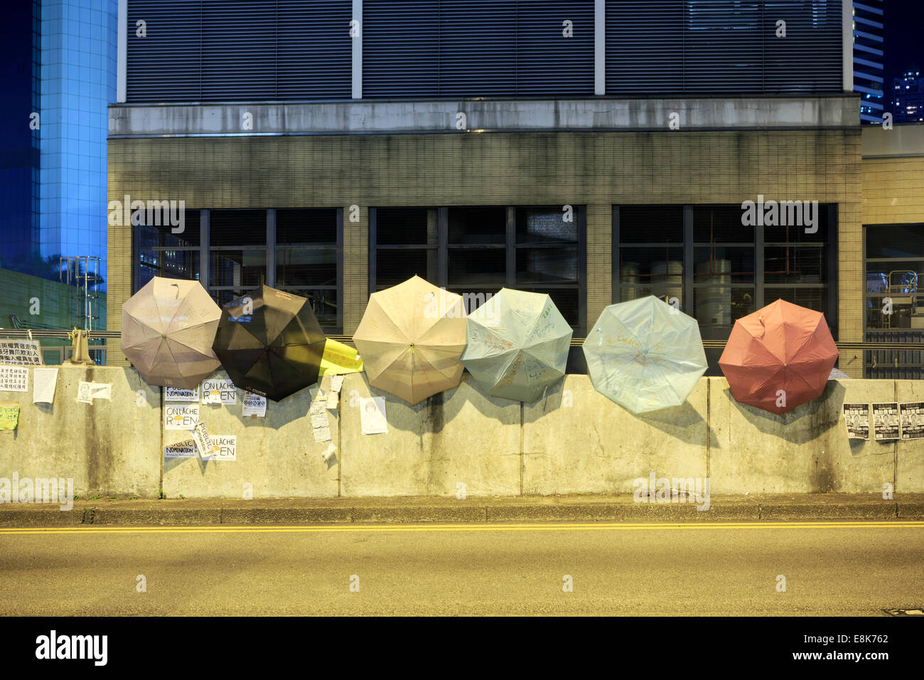 Umbrellas are showing everywhere under occupy Central campaign - Stock Image