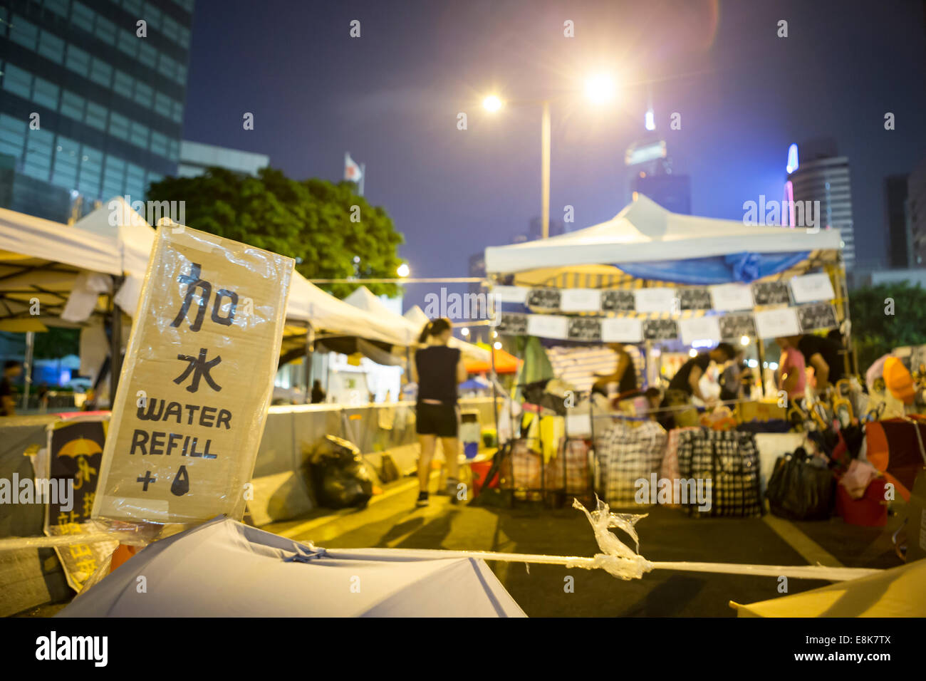 Water refill station at occupy central campaign - Stock Image