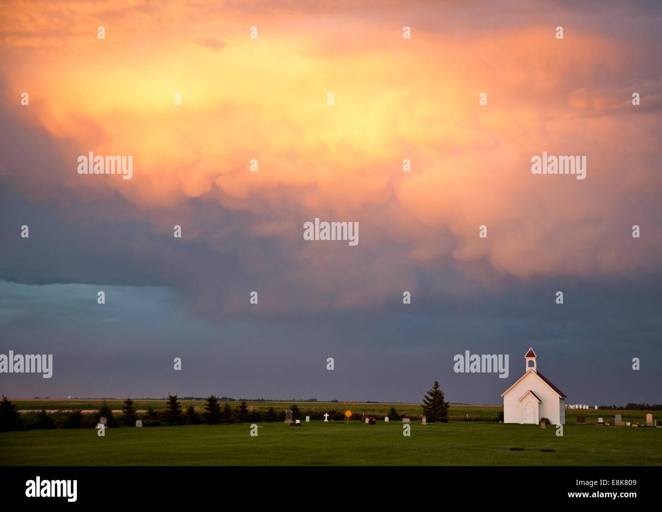 Storm Clouds Saskatchewan With Country Church And Sunset