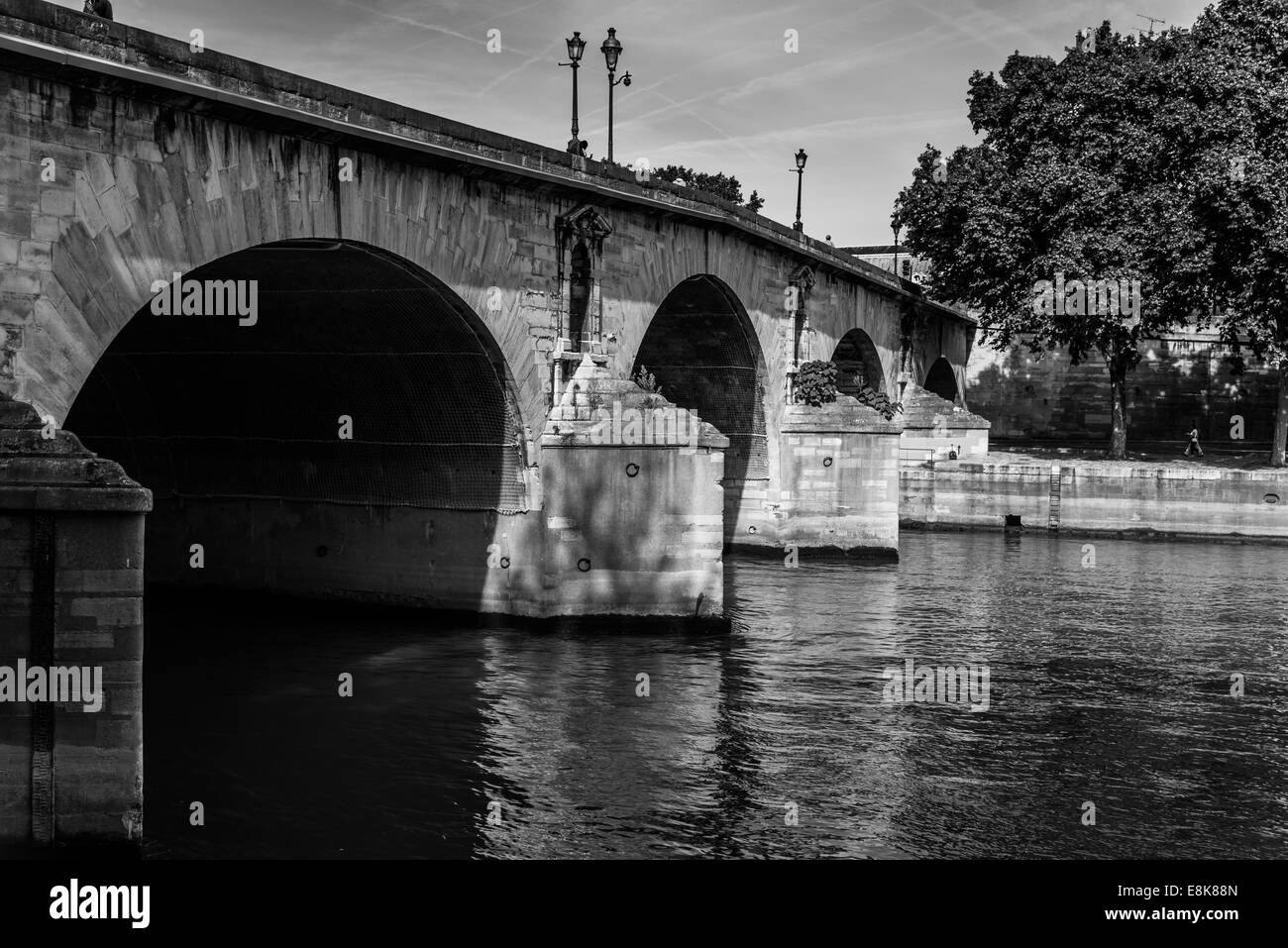 Pont Marie in Paris France carries traffic over the River Seine at Ile St. Louis - Stock Image