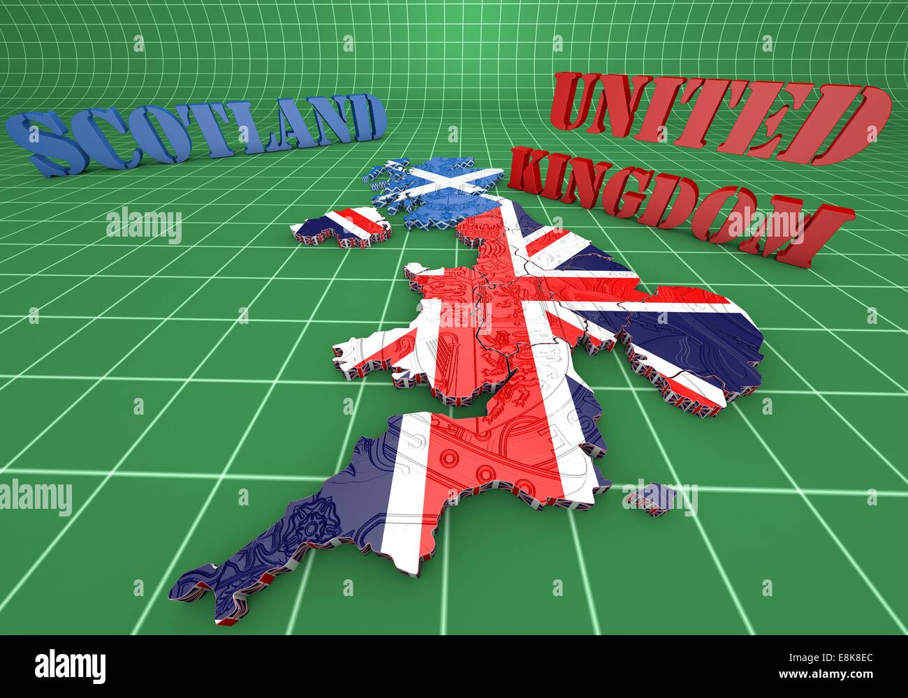 3d Map Of England.3d Map Illustration Of Scotland And England With Flag Stock Photo