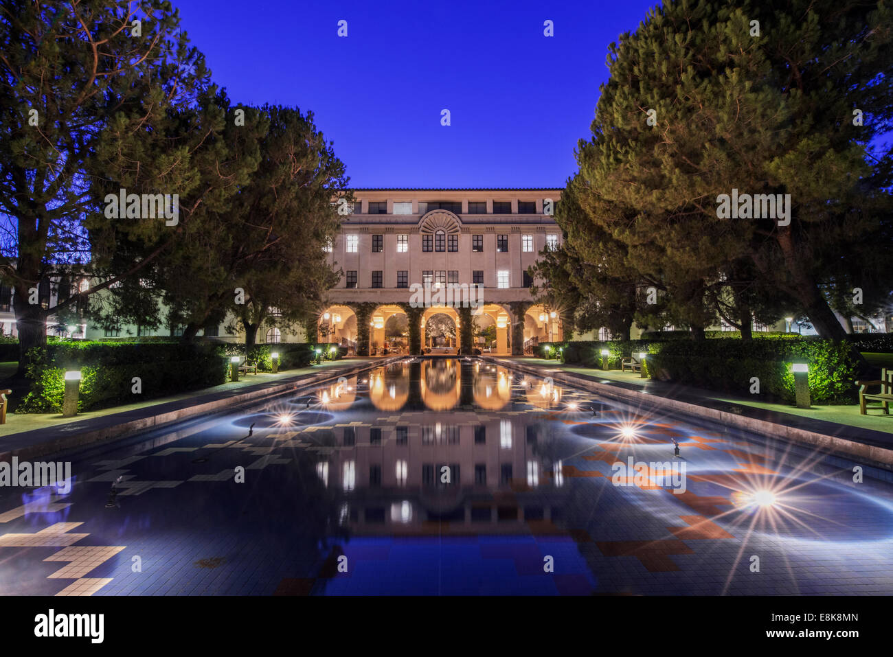 USA, California, Pasadena, California Institute of Technology, Beckman Institute Reflecting Pool Stock Photo