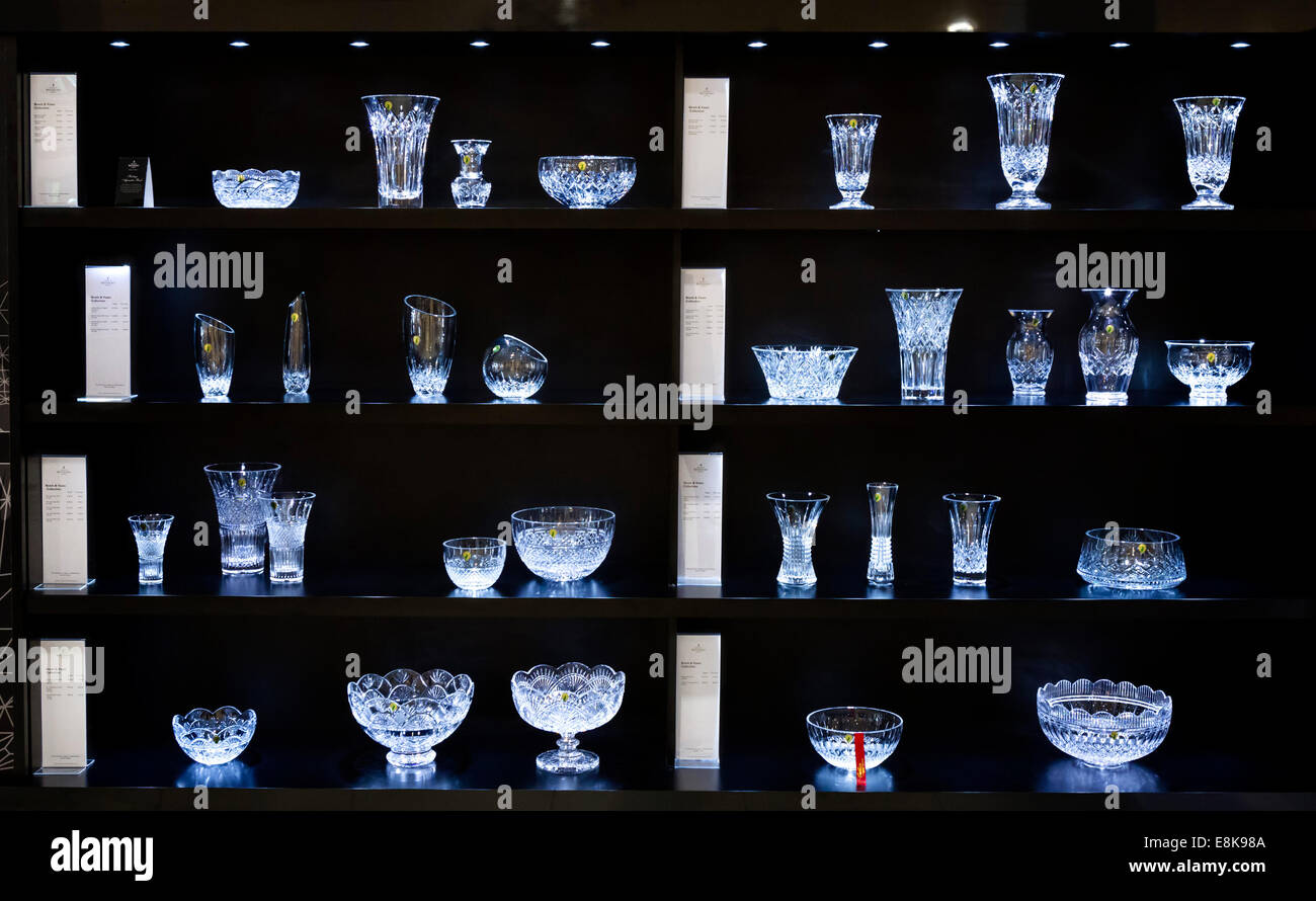 Display of bowls and vases in the showroom at the Waterford Crystal factory, Waterford City, County Waterford,  - Stock Image