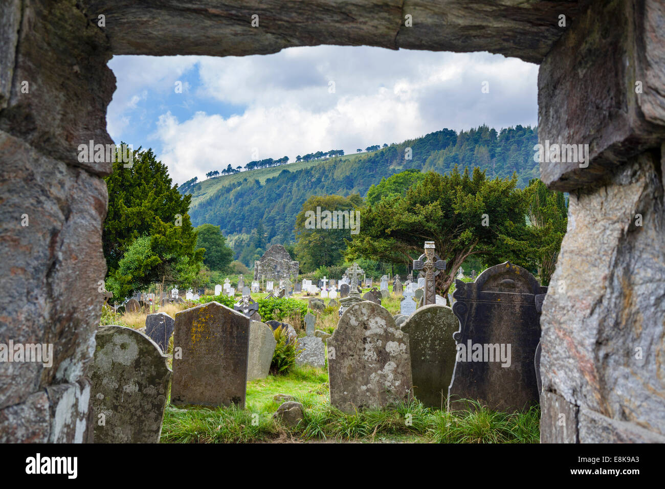 Cemetery from the Cathedral entrance in the old monastic settlement of Glendalough, County Wicklow, Republic of - Stock Image