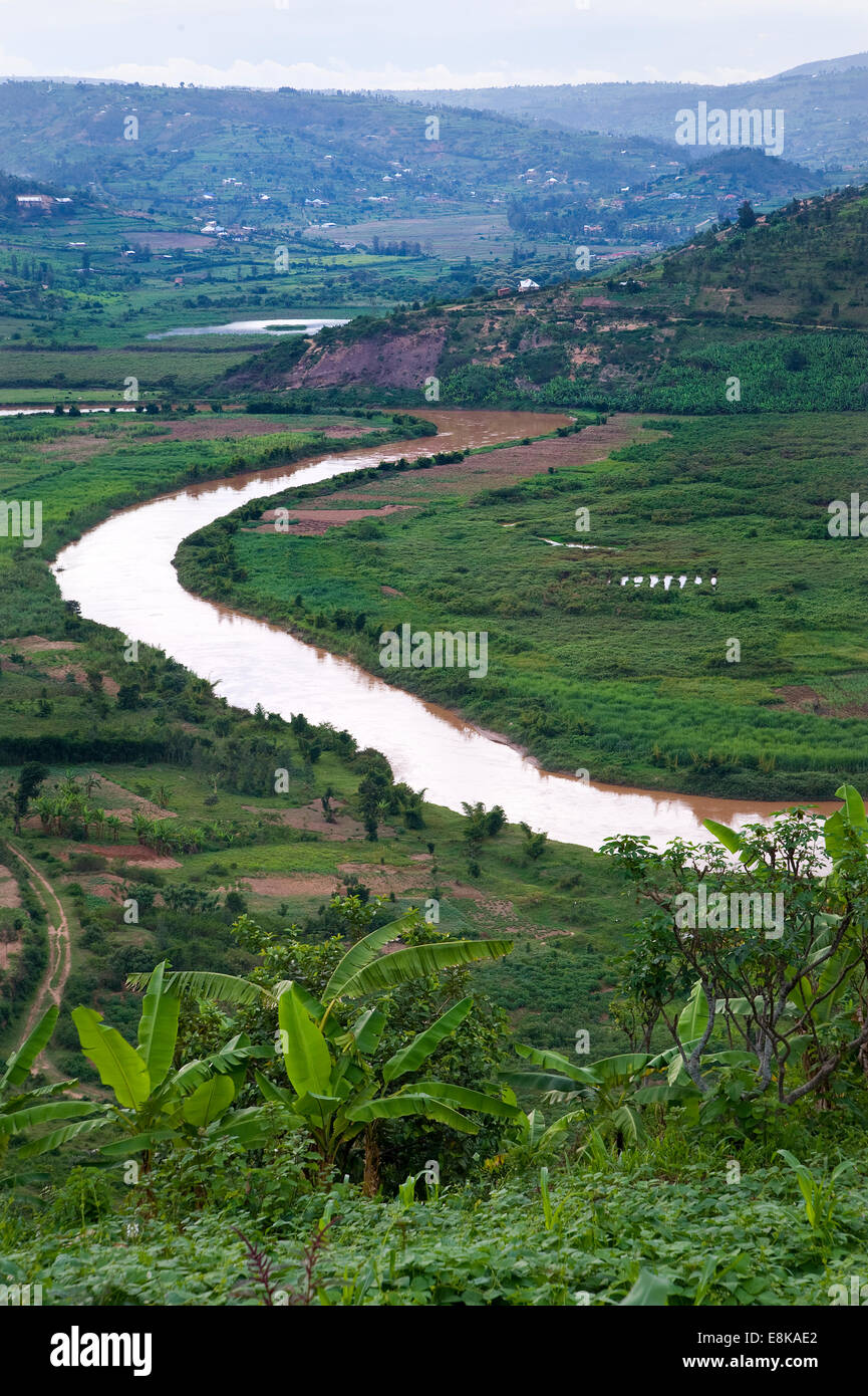 RWANDA, NJABORONGO VALLEY: Directly beside Kigali is the this valley with a beautiful river and rural landscape - Stock Image