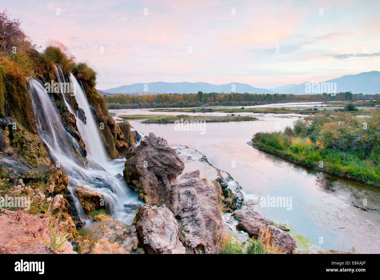 Water falls on small stream flowing into Snake River, Idaho, USA. - Stock Image