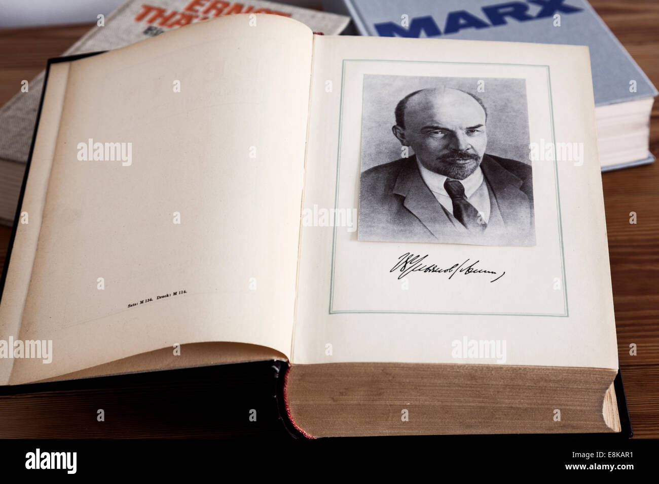 The Communist Bibles-the works of Marks,Lenin and Ernst Thalmann - Stock Image