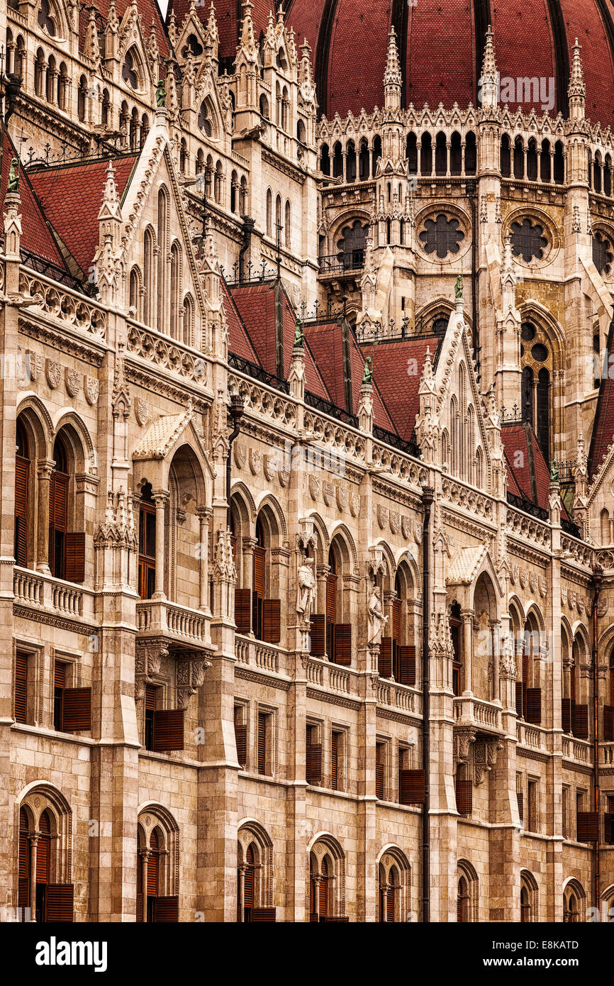 Detail of the Dome of Hungarian Parliament Building,Kossuth Lajos square,Budapest,Hungary - Stock Image