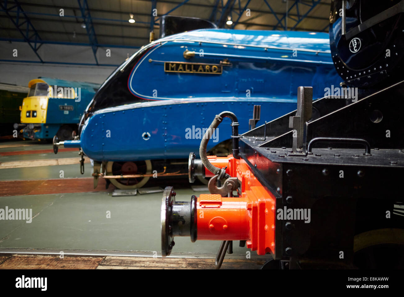 Mallard on display in the great hall National Railway Museum in York Yorkshire UK - Stock Image
