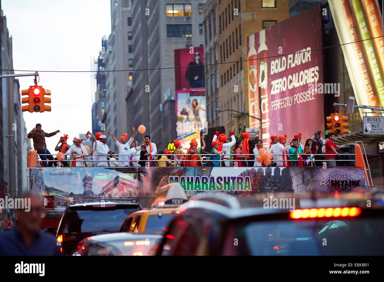 New York city NYC Times Square Maharashtra bus promoting India - Stock Image