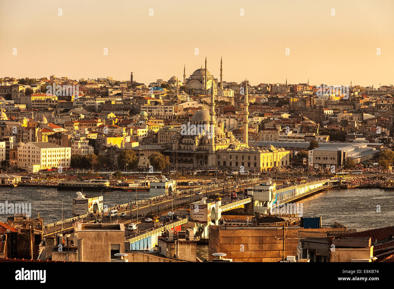 Galata Bridge on the Golden Horn at sunset,Karakoy,Istanbul,Turkey - Stock Image