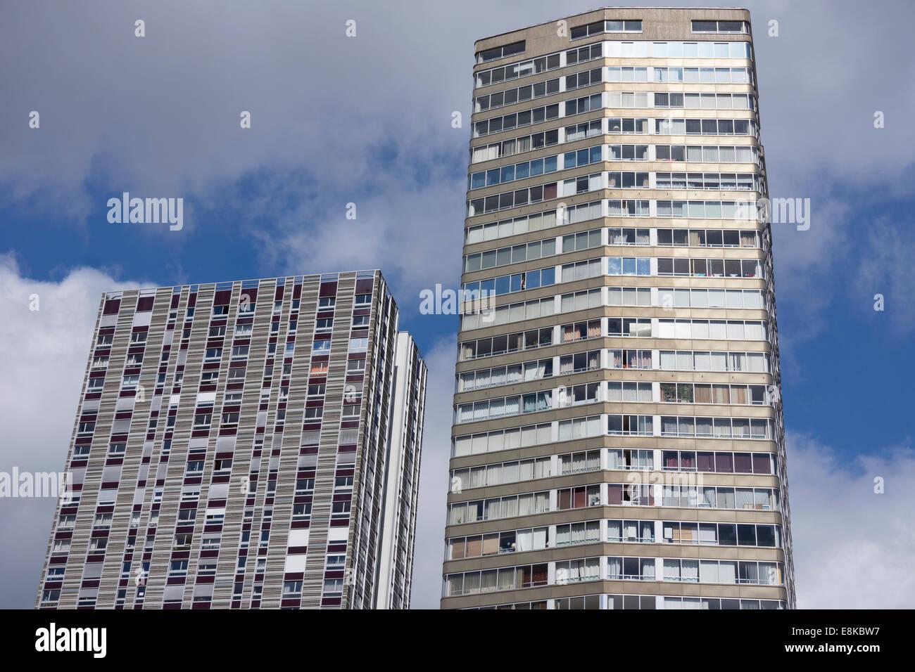 Facade Of Modern Apartment Buildings In Paris, France