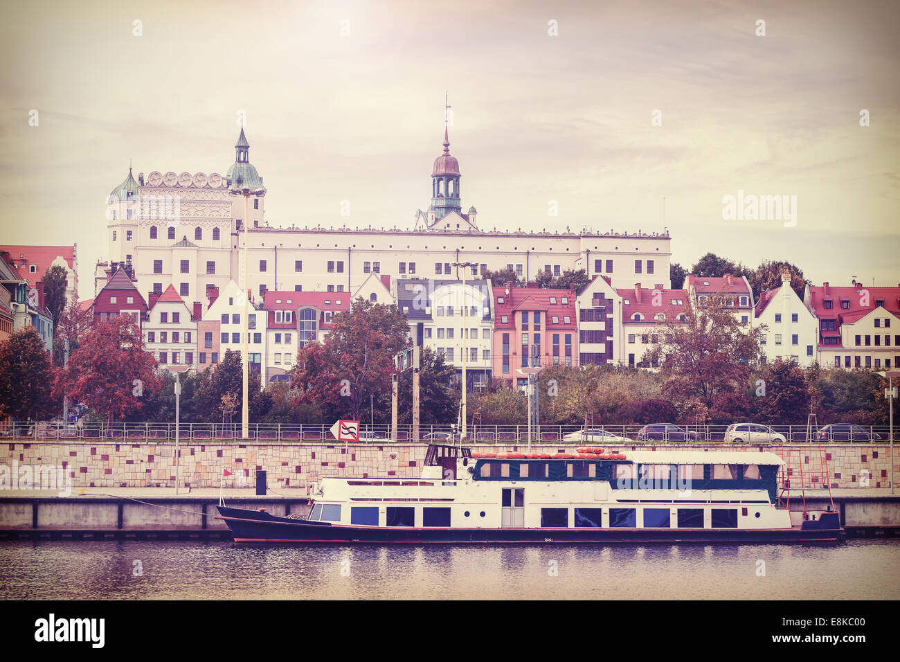 Retro vintage filtered photo of Szczecin riverside view, Poland - Stock Image