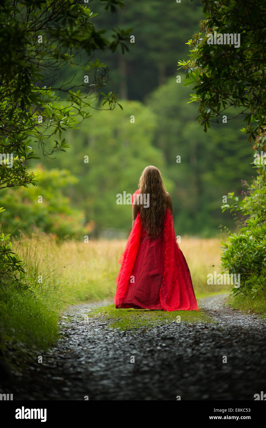Scarlet woman: rear view back of a girl wearing a blood red frock dress stood standing alone  in woodland countryside - Stock Image