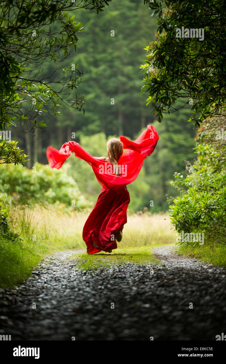 Scarlet woman: rear view of a girl wearing a blood red frock dress in running away woodland countryside Stock Photo