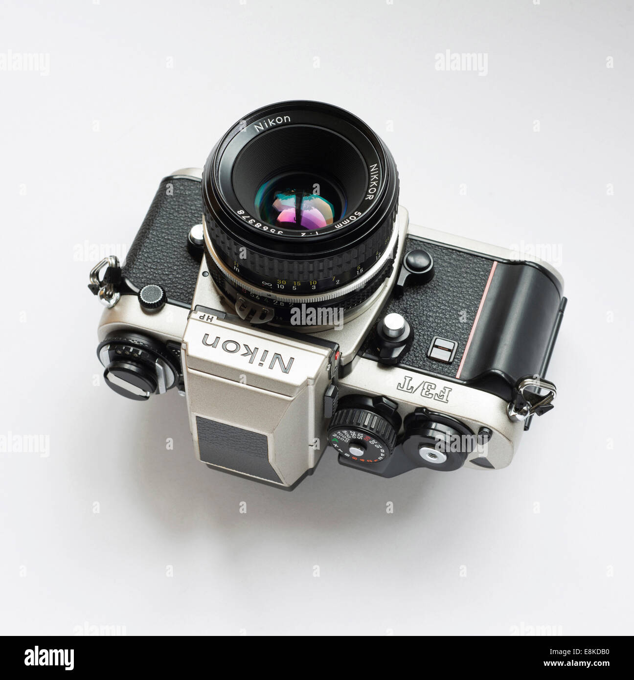 Nikon F3 titanium Japanese film camera. - Stock Image