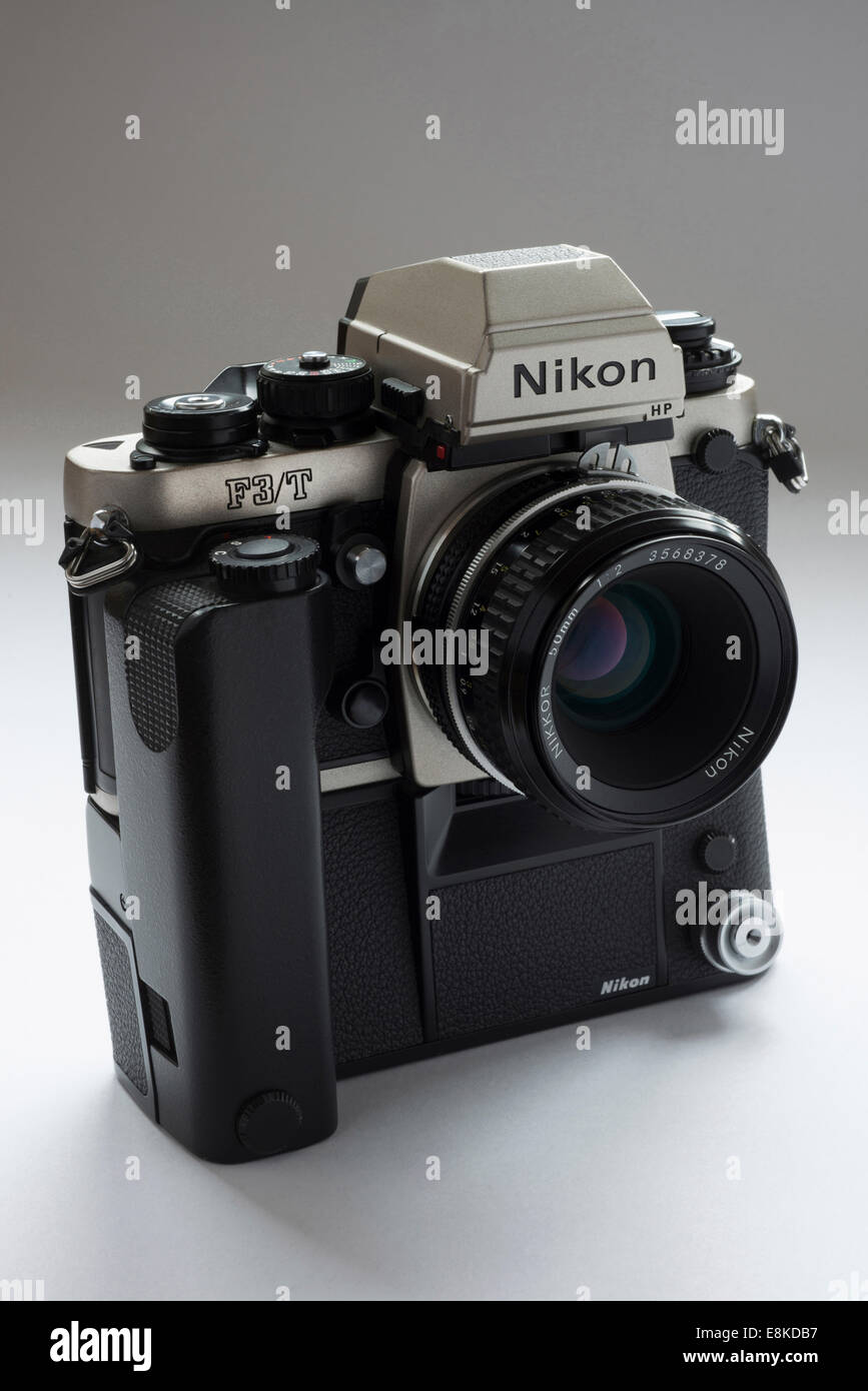 Nikon F3 titanium Japanese film camera with MD4 motordrive. - Stock Image