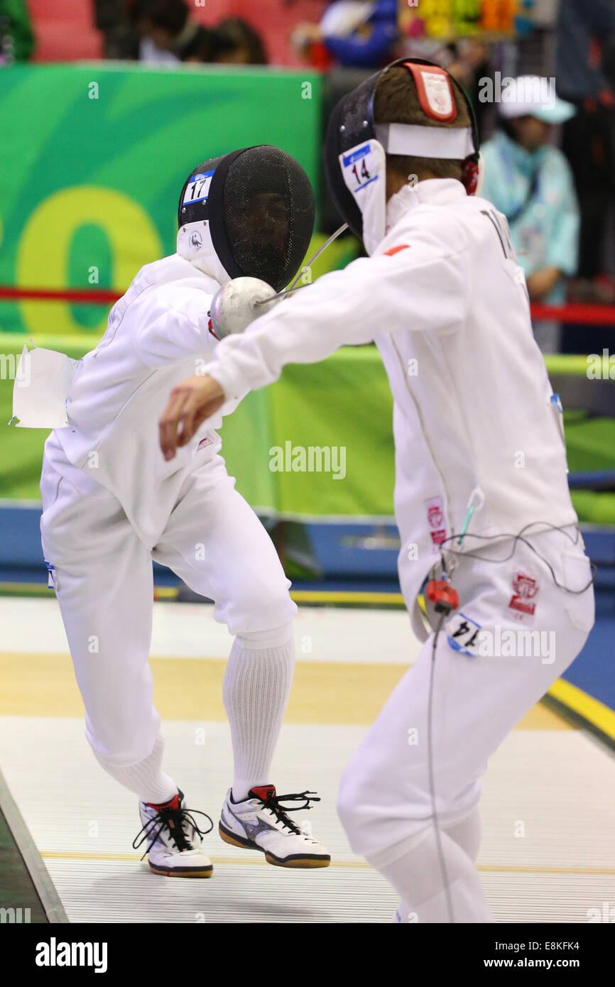 Tomoya Miguchi (JPN),  OCTOBER 3, 2014 - Modern Pentathlon :  Men's Individual / Team Fencing at Dream Park - Stock Image